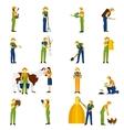 Farmer at work flat icons set vector image vector image