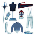 fencing equipment or game tools collection set vector image vector image