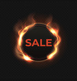 fire sale label realistic flame banner burned vector image vector image