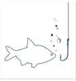 Fish looking on a hook vector image