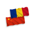 flags romania and china on a white background vector image