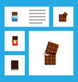 flat icon cacao set of dessert bitter chocolate vector image vector image