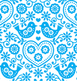 Folk art seamless blue pattern with flowers vector image vector image