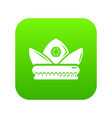 gold crown icon green vector image vector image