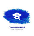 graduation cap icon - blue watercolor background vector image