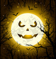 halloween greeting card with scary face vector image vector image