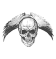 Hand drawn winged skull EPS vector image vector image