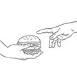 hands with burger coloring book vector image vector image