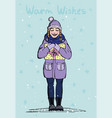 happy young girl in winter clothes with a gift vector image vector image