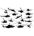 Helicopter silhouettes vector image vector image