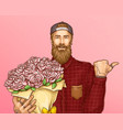 hipster man with bouquet of roses vector image vector image