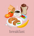 isometric breakfast and kitchen equipment concept vector image