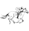 jockey on a galloping horse painted with ink vector image