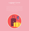 luggage carrier hotel closeup symbol with text vector image vector image