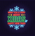 merry christmas and happy new year neon sign with vector image vector image