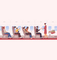 people sit on armchair at airplane side view vector image vector image
