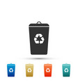 recycle bin with recycle symbol trash can icon vector image