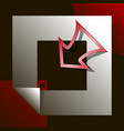 red arrow enters white square on black background vector image vector image