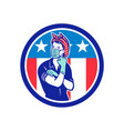 rosie riveter wearing mask usa flag mascot vector image