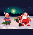 santa and piggy happy new year of pig postcard vector image