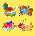 set of stickers patches with summer vacation vector image
