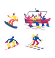 set skiing and snowboarding winter sport activity vector image