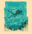 silhouette of scuba driver underwatervintage sea vector image