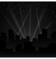 Silhouette of the city Rays of spotlights vector image vector image