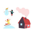 snowman and child cottage house with chimney icon vector image