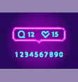 social network notifications neon icons pack set vector image vector image