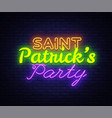 st patricks party design template neon sign vector image