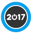 Start 2017 Year Round Button Flat Icon vector image vector image