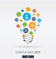 startup integrated thin line icons digital neural vector image vector image