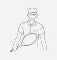 tennis player icon line element vector image