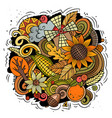 thanksgiving hand drawn cartoon doodles vector image