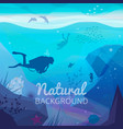 underwater diving infographics natural background vector image vector image