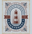 vintage lighthouse typography vector image vector image