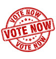 vote now red grunge round vintage rubber stamp vector image vector image