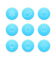 weather line icons rain hail wind sun snow vector image vector image