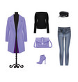woman purple and black clothing set vector image vector image