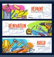work tools home repair sketch banners vector image vector image