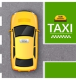 Yellow taxi cab top view banner vector image