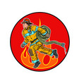 a firefighter is extinguishing flames vector image