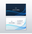 abstract blue wave business card design vector image vector image