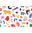 abstract doodle hand drawn symbols animals