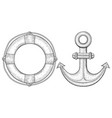 anchor and lifebuoy hand drawn sketch vector image vector image