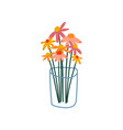 beautiful spring or summer flowers in glass vase vector image vector image