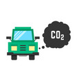 big green truck emits carbon dioxide vector image vector image