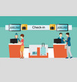 business people checking in counter airplane vector image vector image