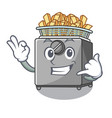call me deep fryer machine isolated on mascot vector image vector image